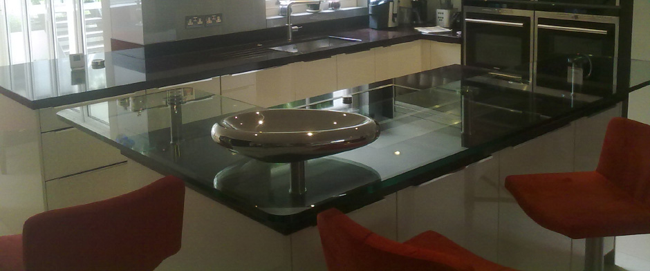 Glass breakfast bars and glass table tops