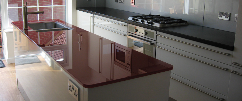 Glass back panels and glass worktops